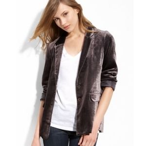 Halogen Gray Crush Velvet Long Button Front Blazer